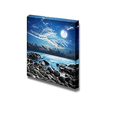 Canvas Prints Wall Art - Beautiful Scenery/Landscape Full Moon Over The Tropical Bay | Modern Wall Decor/Home Decoration Stretched Gallery Canvas Wrap Giclee Print & Ready to Hang - 24