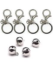 Pet Collar Bells, Pet Bell Pendants, 4Pcs Collar Bells Charm for Cats Dogs Necklace Collar (Silve)
