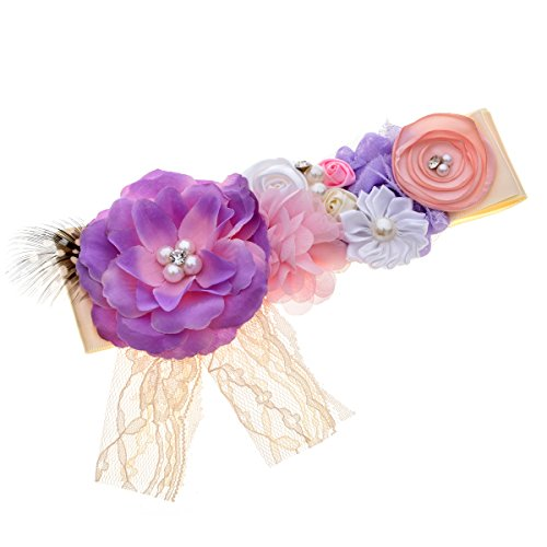 Love Sweety Maternity Pregnancy Sash Flower Belt Baby Shower Accessories (1# Purple) (Love Belt)
