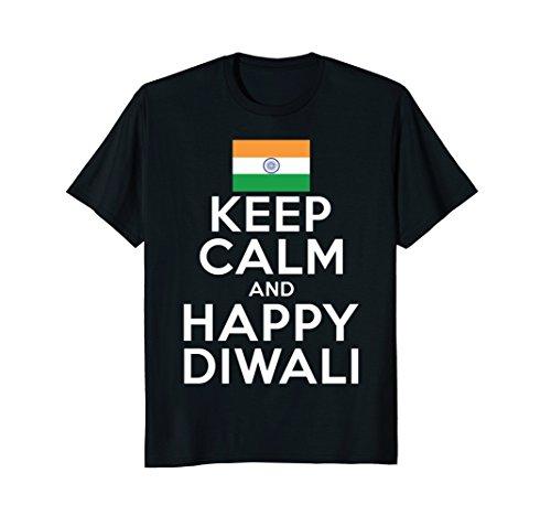 Mens Keep Calm And Happy Diwali India Flag Hindu Festival T-Shirt Large Black by Diwali Hindu Vibes Tees