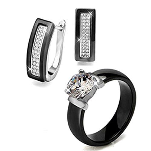 Jewelry Set Black White Ceramic Ring & Earrings Wedding Accessories U Shape Stud Earrings And Rings black 8 - Ceramic Set Earrings