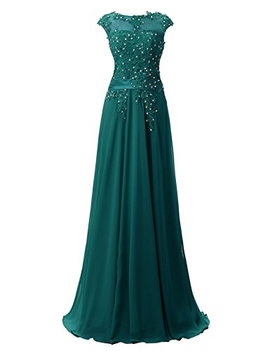 - Belle House Prom Dress 2019 Long for Women Teal Green A Line Bridesmaid Dress Sheer Neck Ball Gown