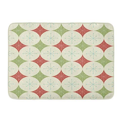 Puyrtdfs Doormats Bath Rugs Outdoor/Indoor Door Mat 1960S Christmas Stars and Diamonds Pattern 1970S Abstract Atomic Disco Bathroom Decor Rug 16