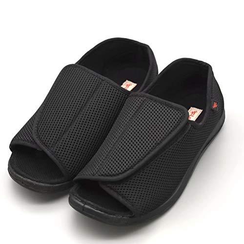 AOIREMON Men's Diabetic Footwear Open Toe Extra Wide Slippers Adjustable Orthopedic Shoes for Edema Swollen Feet Elderly Men., Black?mesh?, 11