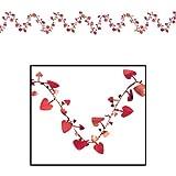 Beistle 50652-R Gleam N Flex Heart Garland, 25-Feet