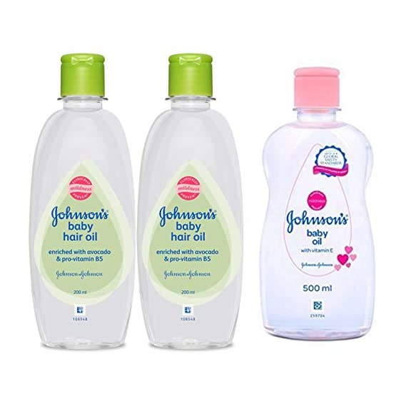 Johnson's Baby Hair Oil 200ml (Pack of 2) & Baby Oil with Vitamin E (500ml) Combo