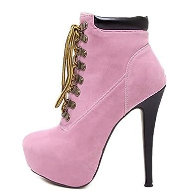 MEI&S Damen Stiletto High Heels Runden Kopf Kurz Ankle Boots Schuhe, Rosa, 39 LSM-Stiefel