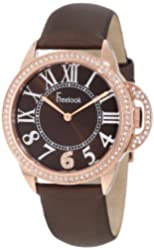 Freelook Women's HA9048RG-2 Brown Satin Band Sunray Half Dial Rose Gold Case Swarovski Bezel Watch