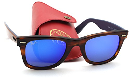 Ray-Ban RB2140 Original Wayfarer Bicolor Unisex Sunglasses (Tortoise Frame / Blue Flash Lens 117617, - Blue Rb2140