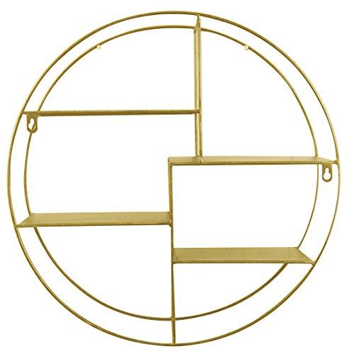 (Wall Mounted 4 Tier Round Metal Display Organizer Rack Holder Floating Shelves for Bedroom Living Room Kitchen Office Golden 20