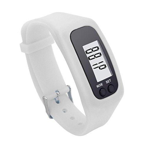 - Bolayu Digital LCD Pedometer Run Step Walking Distance Calorie Counter Watch Bracelet White
