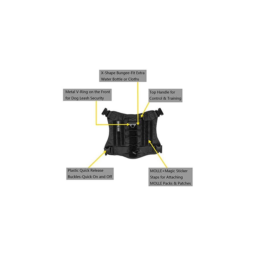 IronSeals Tactical Service Dog Vest Water resistant Comfortable Military Patrol K9 Dog Harness with Handles