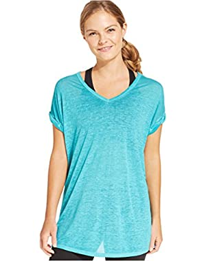 Calvin Klein Women's V-Neck Burnout Tee, Wave, X-Small