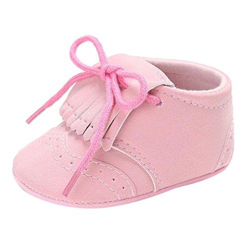 Babyschuhe Longra Säuglings Baby Mädchen Jungen Troddel Krippeschuhe weiche alleinige Anti Rutsch Turnschuh Segeltuch Lauflernschuhe(0-18Monate) Pink