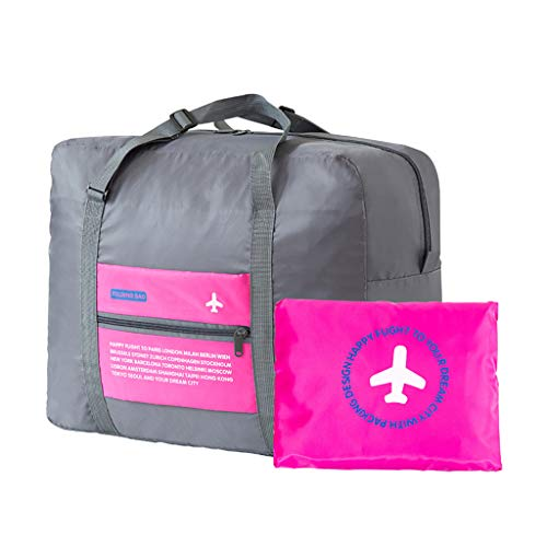 Travel Foldable Duffel Bag Waterproof Lightweight Carry On Luggage (Pink)