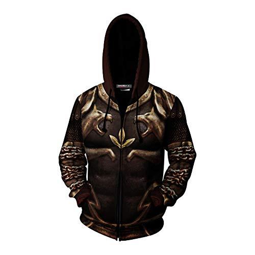Flyer Kratos Costume Halloween Cosplay Jacket 3D Print Zip Up Hoodie (Men-M, Brown) ()