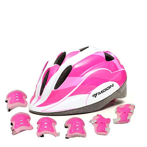 Adjustable Helmet Cycling Roller Skateboard Elbow Knee Pads Wrist Safety Protective Guard Gear Set for Children Aged 5-12 Years Old (Pink) For Sale