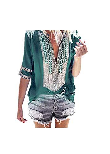 ADREAMLWomen's Summer Boho Embroidered V Neck Short Sleeve Casual T-Shirt Tops Loose Blouse - Ferrari Embroidered Sweatshirt
