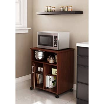 south shore smart basics microwave cart with storage on wheels royal cherry
