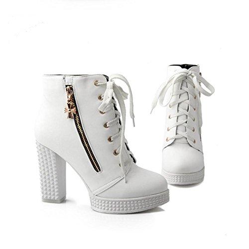 mujer 11cm Zipper Blanco Boots Shoes Blanco toe Otoño Best Martin PU 4U® Shoes Chunky Zapatos Tacones High Negro de Round O7wfRxtq