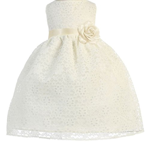 Little Baby Girls' Lovely Floral Lace Cute Wedding Easter Flowers Girls Dresses Ivory Size 6M