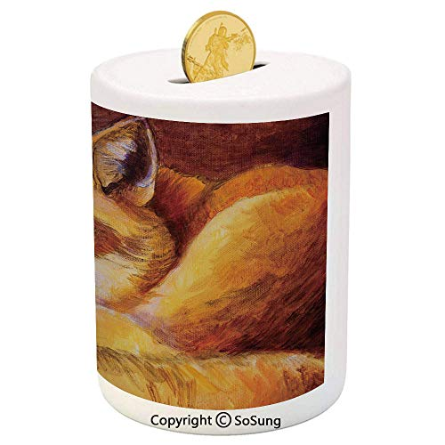 Fox Ceramic Piggy Bank,Monochromatic Fox Resting Painting Style Display Vibrant Animal Art Decorative 3D Printed Ceramic Coin Bank Money Box for Kids & Adults,Yellow Orange Burnt - Monochromatic Trio