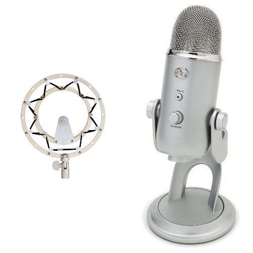 Blue Microphones RADIUS II Microphone Shock Mount for Yeti/Yeti Pro with Improved Hinge Design and Blue Microphones Yeti USB Microphone - Silver Bundle by Blue Microphones