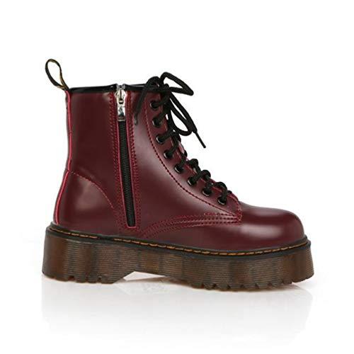 Plateformes Lacets Sport Pour De En Compensée Hauts Chaussures Moto Cuir Femmes À Dames Rouge Oxford Bottines Talons 5qUwXnO