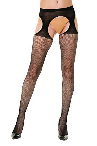 High Waisted Worn Retro Suspender Fishnet Pantyhose Tights Black (Flower Stripe Tights)