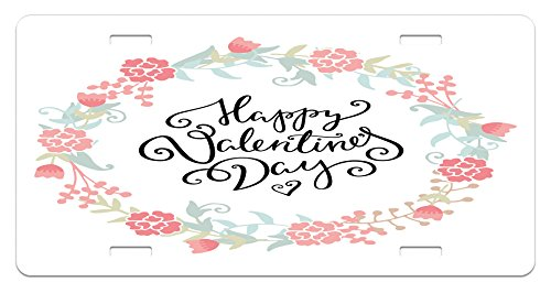 Buds Arrangement - Valentines Day License Plate by Ambesonne, Floral Arrangements Buds Roses Tulips Circle Love Valentine Hearts, High Gloss Aluminum Novelty Plate, 5.88 L X 11.88 W Inches, White and Black
