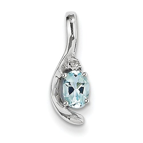 Or blanc 14 carats Diamant véritable bruts Pendentif aigue marine-JewelryWeb