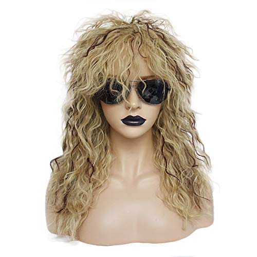 Anogol Hair Cap+Ombre Blonde Wig for 80s Rocker Wig for 80s Party Brown Curly Wigs for Punk Wig -