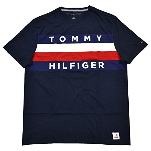 Tommy Hilfiger Mens Graphic T-Shirt (L, Navy Blue)