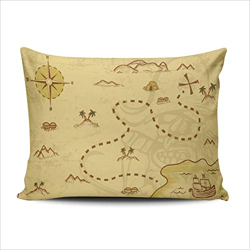 AIHUAW Home Decorative Cushion Covers Throw Pillow Case A Pirate Map Concept Pillowcases Queen 20x30 Inches One Sided Printed (Set of 1) (Graph Paper With Numbers Up To 30)