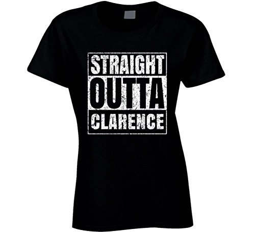Straight Outta Clarence Megalopolis Grunge Worn Look Cool T Shirt L Black