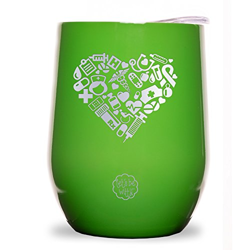 (Nurse Heart Stainless Steel 9 oz Wine Glass Tumbler with Lid - Double Wall Vacuum Insulated - Powder Coated - Unique Gift Idea for Nurses - Customized With Unique Image)