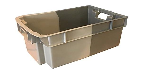 Caja de almacenamiento de plástico de 32 litros de color gris, apilable y profundo, 180 grados, 600 x 400 euroapilable/resistencia industrial anidable: ...
