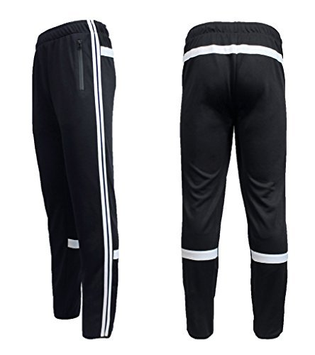 Soccer Warm Up Pants (Galaxy by Harvic Mens Athletic Soccer Training Sweat Track Pants, Black/White, Large)