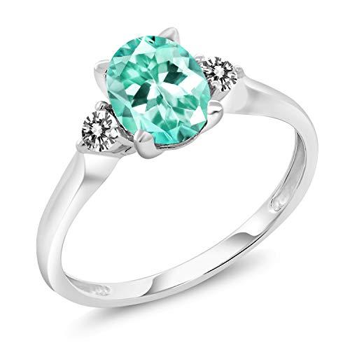 - Gem Stone King 1.32 Ct Oval Blue Apatite White Diamond 10K White Gold Ring (Size 5)