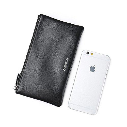 VRLEGEND Men's Genuine Leather Long Bifold Wallet Cellphone Bag Card Holder