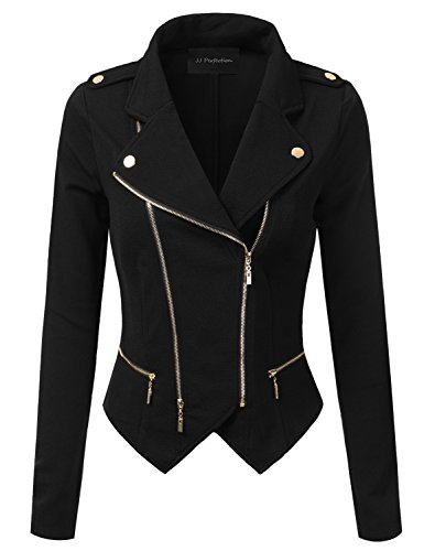 Womens Black Moto Jacket - 5