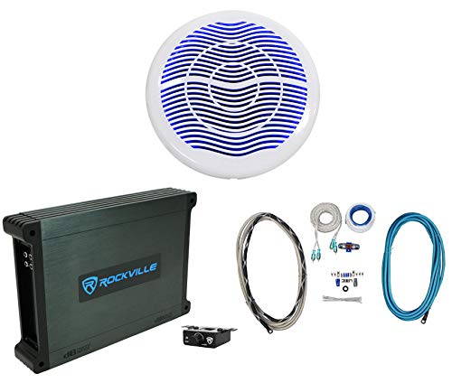 "Rockville MS10LW 10"" 2400w White Marine/Boat 10"" LED Free Air Subwoofer+Mono Amp+Wire Kit"