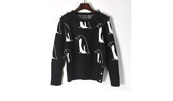 ZHAOZHIGUANG Tejido Sweater Suéter Otoño Invierno Nuevo Estilo Blanco Y Negro  Chompa Jacquard Chompa Dama Negro L  Amazon.es  Deportes y aire libre 8b7ebb91a1b1