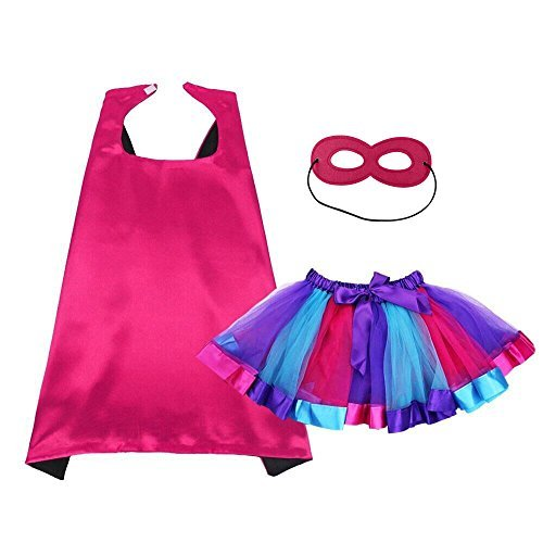Kids Dress Up Superhero Cape and Mask With Tutu Dress For Girls Pretend Playing Party -