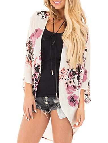 Women's Floral Kimono Cardigan Summer Loose Shawl Chiffon Beach Blouse Cover up Medium ()