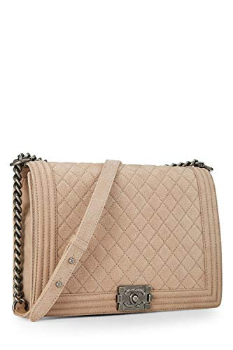 CHANEL Beige Quilted Soft Caviar Boy Large (Pre-Owned)