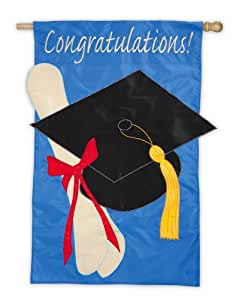 Graduación Felicidades Applique casa bandera con poste de madera
