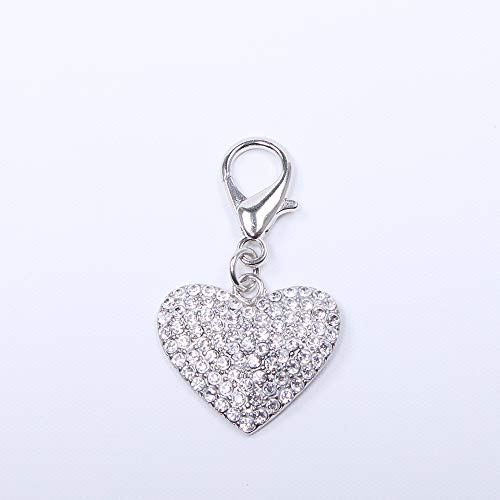 - SKS PET TM Dog Cat Bling Heart Full Rhinestones Charm Pendant Pet Puppy Necklace Collar Jewelry Accessory(Crystal)