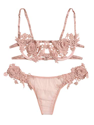 SOLY HUX Women's Floral Appliques Underwire Bra and Panty 2 Piece Lingerie Set