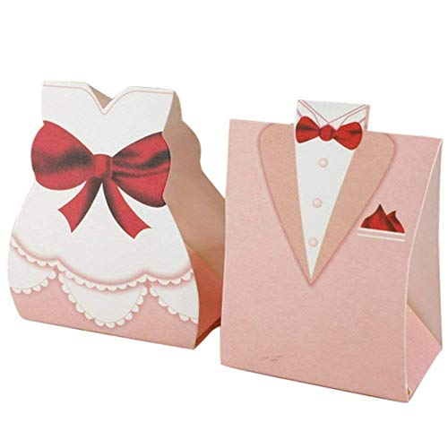 (25 Pairs Pink Creative Dress Candy Boxes Groom Bridal Dress Tuxedo Gift Box Chocolate Cake Candy Box for Wedding, Party and Bridal Shower (50 Pcs))